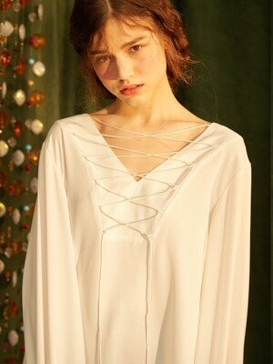 LACE UP BLOUSE_WHITE