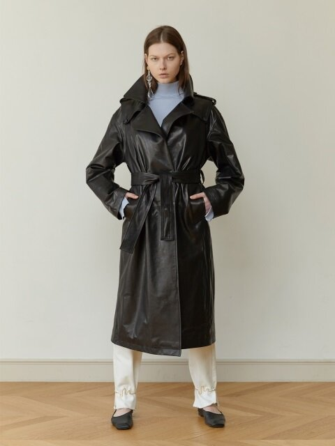 18FW LEATHER TIE-WAIST TRENCH COAT (BLACK)