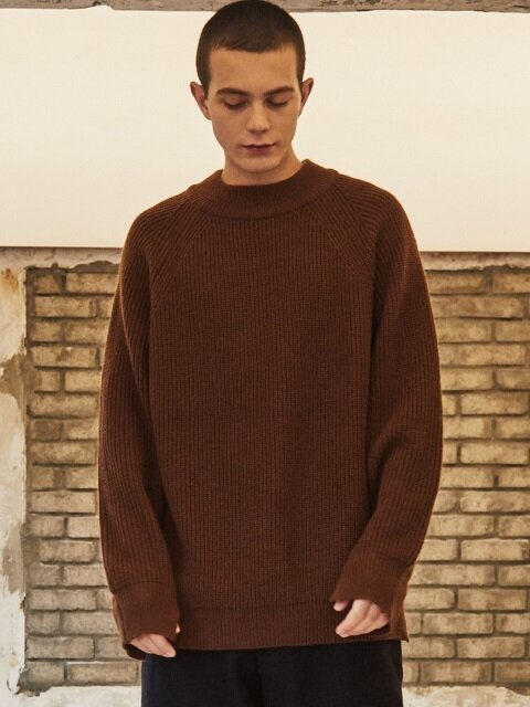 MOCK NECK WOOL KNIT BROWN
