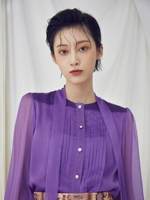 Pintuck blouse [Purple]