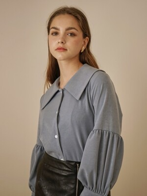 BIG COLLAR BLOUSE BLUE