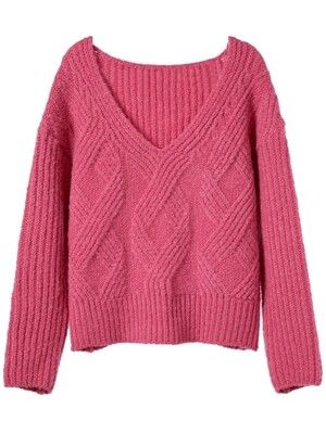 loose fisherman knit _ pink