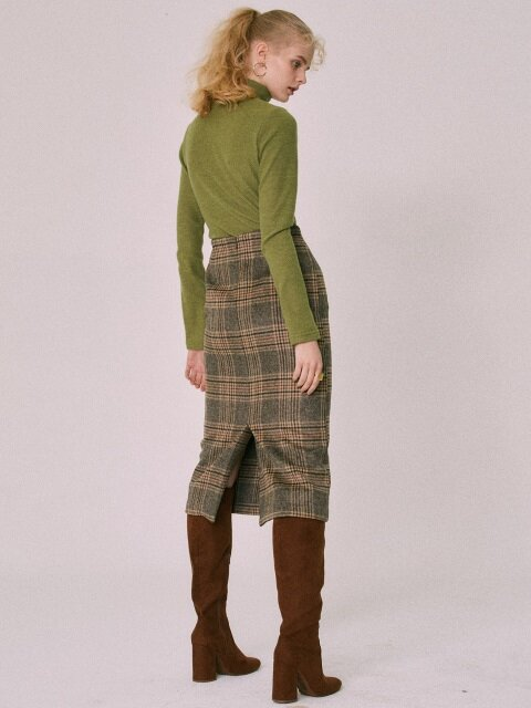 CHECK MIDI SKIRT(BROWN)