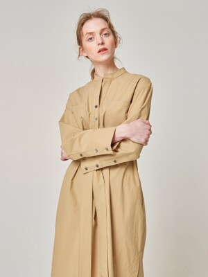 POCKET SHIRTS DRESS_BEIGE