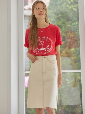 Denim Skirts - Cream