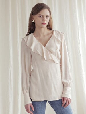 FRILLED WRAP BLOUSE_L.BEIGE