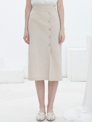 Linen Shell Button Skirt Beige