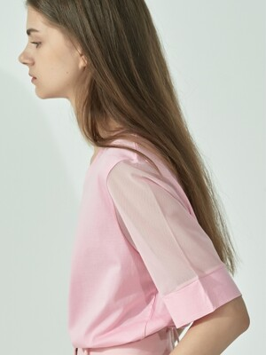TS92CO09 MESH SLEEVE TOP PINK