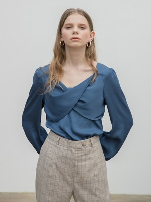 Twisted Satin Blouse Blue