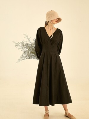 Soft volume puff dress[black]