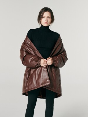 OVERSIZED LEATHER DOWN-FILLED JUMPER. BROWN