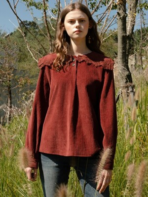 monts 1007 corduroy lace blouse (brick red)