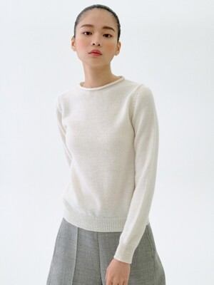 [flat] OFF-WHITE ALPACA BLEND BASIC KNIT TOP