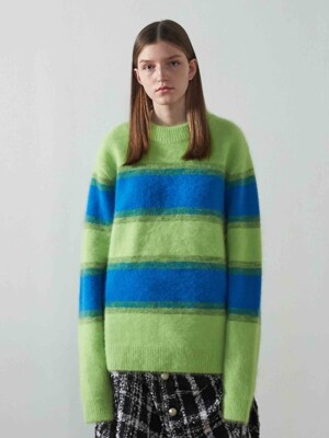 Angora Stripe Knit Sweater_GREEN/BLUE