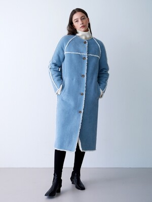 REVERSIBLE DENIM LONG MUSTANG COAT BLUE