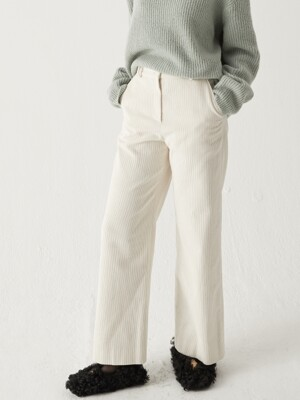 Corduroy wide pants - Cream