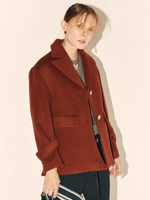 Luox Classic Half Coat_Brick Red
