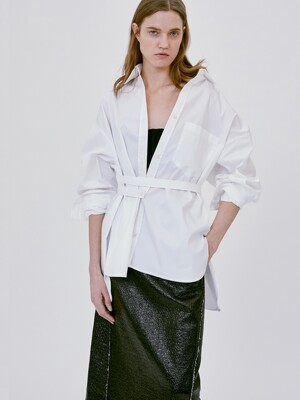 BELTED COTTON SHIRT (WHITE)