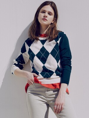 [FRONTROW x RePLAIN] Argyle Intarsia Knit Top