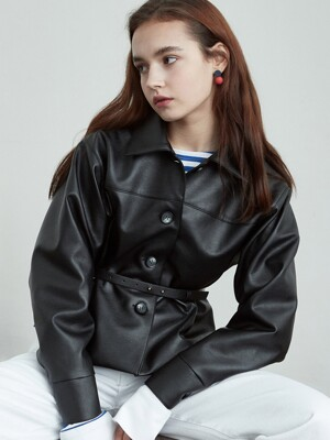 iuw658 belted fake leather jacket (black)