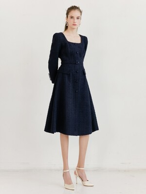 TRISHA Square neck Single button A-line Dress (Navy Tweed)