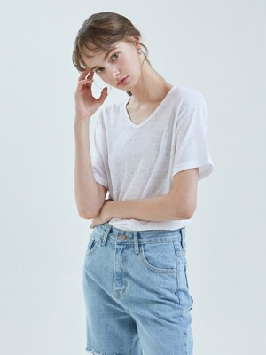 NATURAL LINEN HALF TEE_WHITE