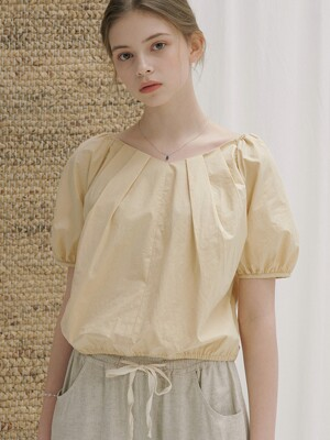 monts 1150 puff-sleeve cropped blouse (yellow beige)