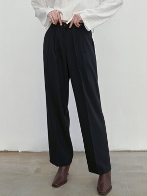 MILD TUCK LONG SLACKS_BLACK