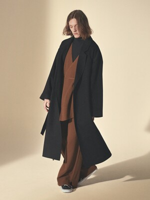 WOOL ROBE COAT_Black