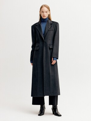 LINE CUT 2-WAY SINGLE WOOL COAT - CHARCOAL