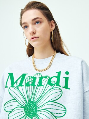 SWEATSHIRT FLOWERMARDI HEATHER-GREEN