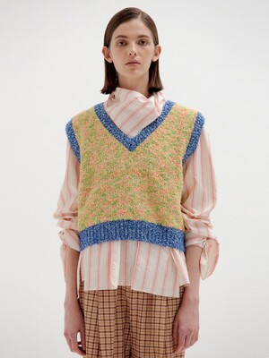 SIKI Trimmed Knit Vest - Yellow/Blue Multi