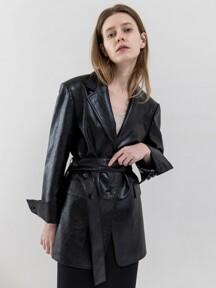 Eco Leather Button Belted Jacket