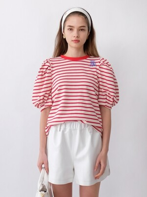NEW MIA STRIPE PUFF SLEEVES TOP_RED