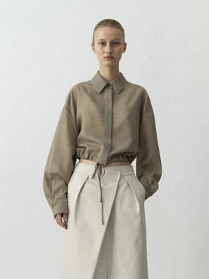 String Cropped Shirts / Khaki Beige