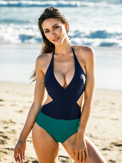 TWO WRAP MONOKINI_GREEN&DEEP BLUE
