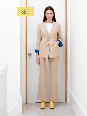 STOCKHOLM two button blazer (Royal beige & Cobalt blue) & SOHO high waisted flared trousers(Royal beige) SET