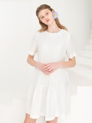 BACK RIBBON EASY DRESS . IVORY