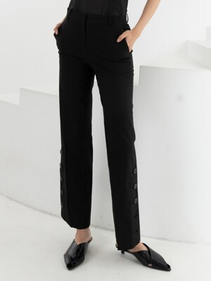 LINEN SLIT BUTTON PANTS . BLACK