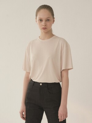 Soft cotton t-shirt in beige