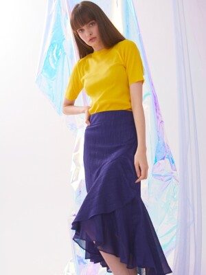 Double Flounce Skirt - Navy