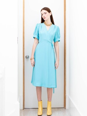 PARK SLOPE short sleeve wrap dress (Ocean blue)