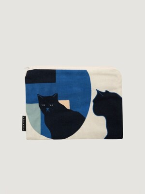 Kitty in the mirror small pouch - Navy
