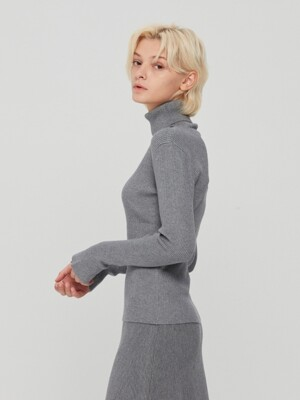 Ruffle Cuffs Turtle Neck Grey