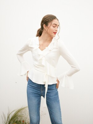 BELL SLEEVES RUFFLE WRAP BLOUSE_OFF WHITE