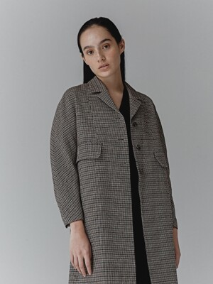 CHECK LIMI HERRINGBONE WOOL COAT