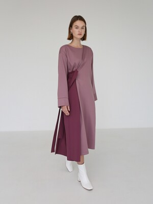 BLOCK WRAP DRESS - PURPLE