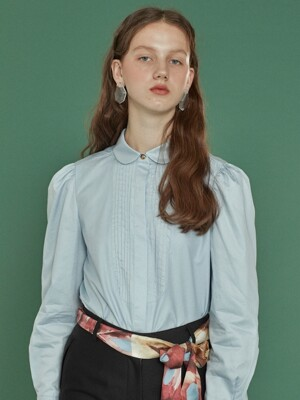 pintuck shirts blouse_blue