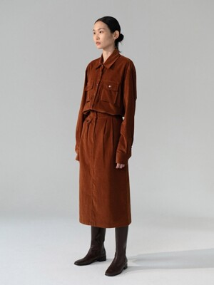 Corduroy pocket skirt