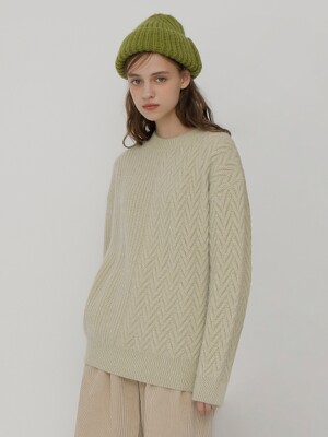 [UNISEX] R V CABLE KNIT_EMERALD